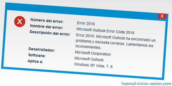 error 2016 de outlook