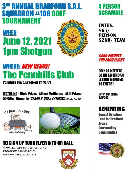 6-22 3rd Annual Bradford S.A.L Golf Tournament
