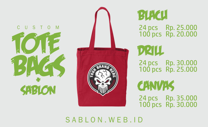 Custom Bikin Tote Bag Sablon