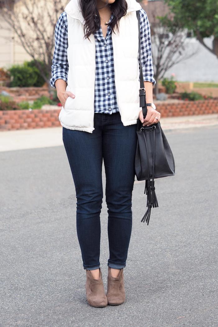 White puffer Vest + Gingham Shirt + Skinnies + booties