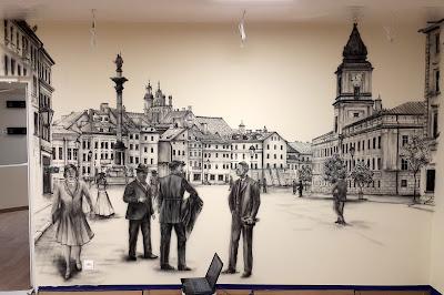 Obraz namalowany na ścianie, malowidło ścienne przedstawia Plac Zygmunta, malowanie murali