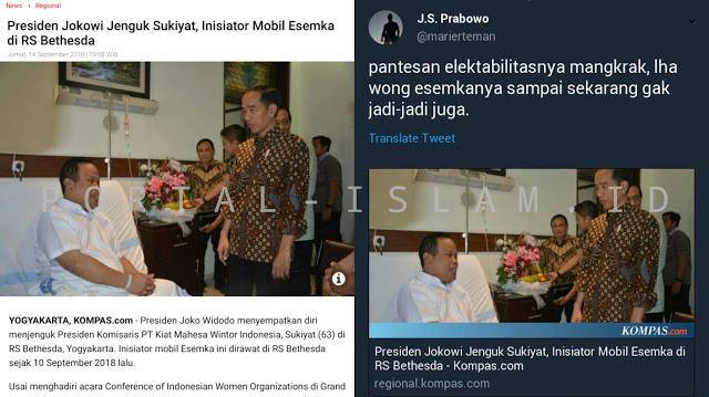 MAKJLEB: Jokowi Jenguk Inisiator Esemka, Suryo Prabowo: Pantes Elektabilitasnya Mangkrak...