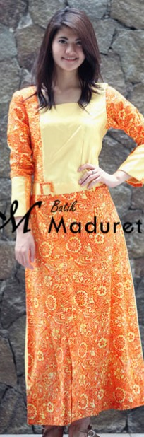 Model Long Dress Batik Kombinasi Polos remaja