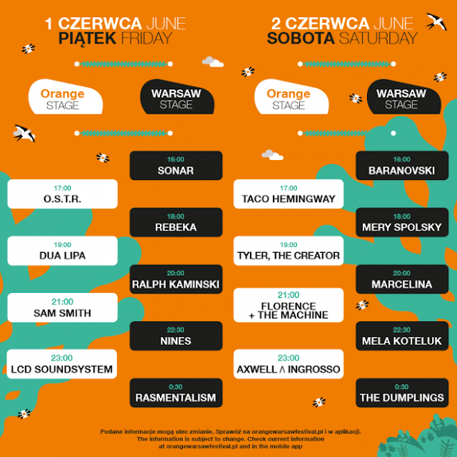 Line-up Orange Warsaw Festival 2018