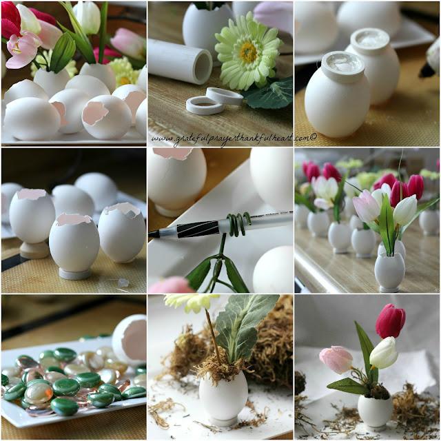 Easter Flowers in Eggshell Pots