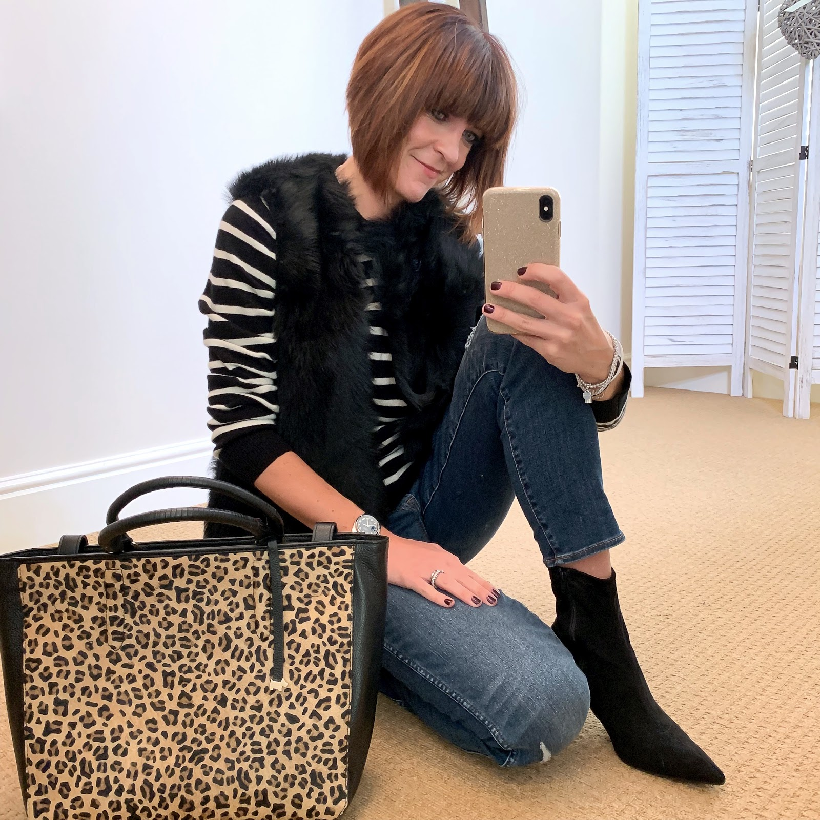 my midlife fashion, radley witney leopard print tote, the white company sheepskin gilet, marks and spencer pure cashmere stripe round neck jumper, marks and spencer stiletto heel velvet ankle boots, j crew vintage straight jeans rip and repair
