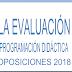 EVALUACIÓN PROGRAMACIÓN DIDÁCTICA OPOSICIONES SECUNDARIA 2018