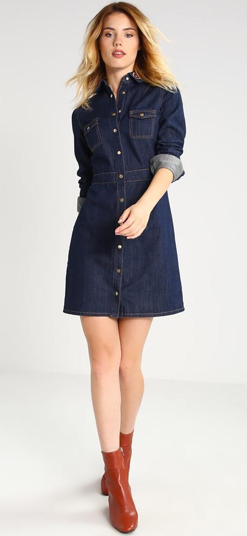 Robe courte en jean bleu marine manches longues Dorothy Perkins