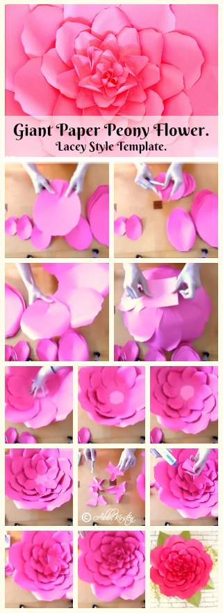Giant peony paper flower. DIY paper flower printable templates. How to make easy paper flowers.