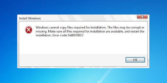Cara Mengatasi Error 0x80070017 Saat Install Windows