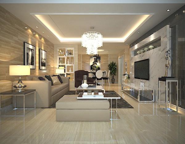 Modern living room autodesk 3ds max models - 3d model library