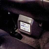 image in color of the interior of Matt Billmeier's 1995 Dodge Ram truck  highlighting the Line Driver