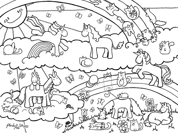 Magical World Of Blobshaped Unicorns And Evenmoreblobshaped  Caticorns Plus Butterflies You Are Free To Print And Color This Page For  Personal Us