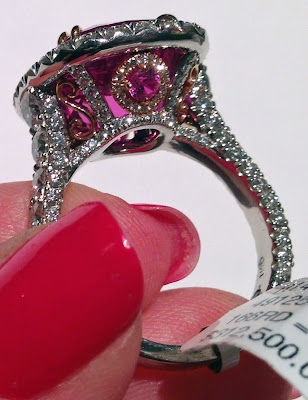 Detail: A pink sapphire, rose gold, platinum, and diamond cocktail ring by Omi Privé.