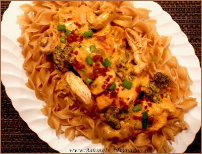 Crockpot Creamy Chicken, an easy hearty comfort food. Mix the sauce, add the chicken, cook in just 4 hours in the crockpot. Serve over wide noodles for a full dinner. | Recipe developed by www.BakingInATornado.com | #recipe #crockpot #dinner