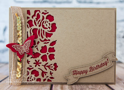 Detailed Floral Thinlits Birthday Card in Crumb Cake and Real Red from Stampin' Up! UK