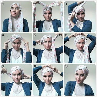 Tutorial Hijab Pashmina Turban Simple