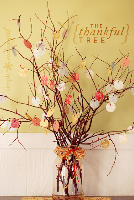 This Thankful Tree by Simply Vintage Girl is made with twigs, ribbons and some small gift tags or pieces of paper. It's a simple fall craft that adds a lot of love and meaning to your home