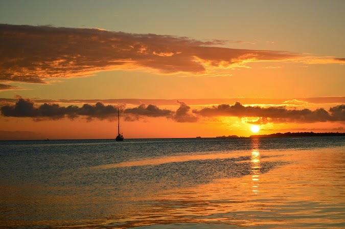 Sunset over Utila Bay