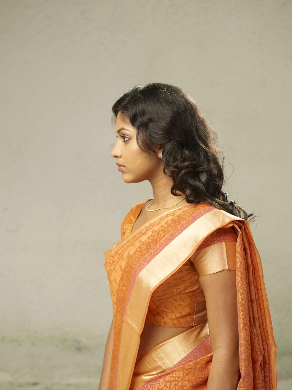 Amala Paul Hot Navel Show Photos In Orange Saree