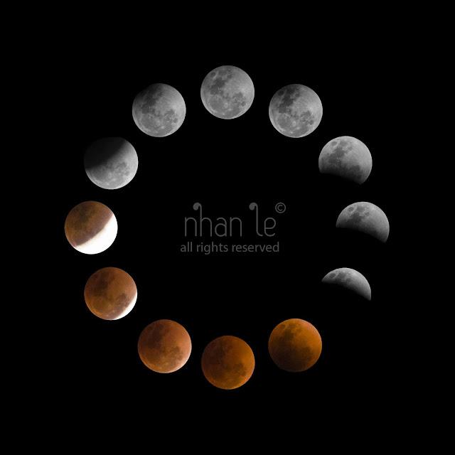 Các pha của Nguyệt thực toàn phần. Mặt Trăng sáng dần bị tối đi và bùng lên ánh sáng màu đỏ cho thấy sự đi vào vùng bóng tối Trái Đất của của Mặt Trăng. Hình ảnh: Nhân Lê.