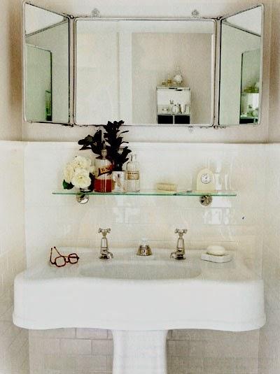 espejos vintage de tres hojas decoracion baño