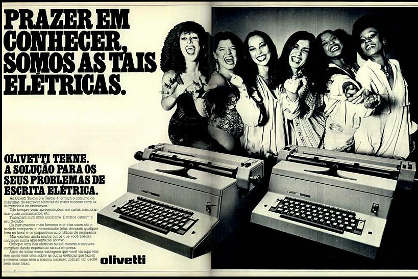 As Frenéticas protagonizaram campanha publicitária da Olivetti no final dos anos 70