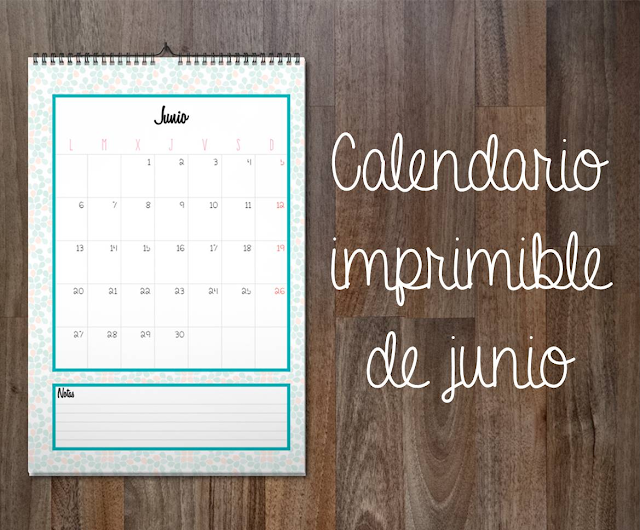 Calendario imprimible de junio