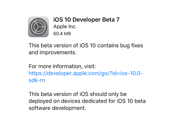 Apple has released iOS 10 beta 7 to developer testers and iOS 10 beta 6 to public testers for iPhone, iPad and iPod touch. iOS 10 Beta 7 comes just a week after the iOS 10 beta 6 was released