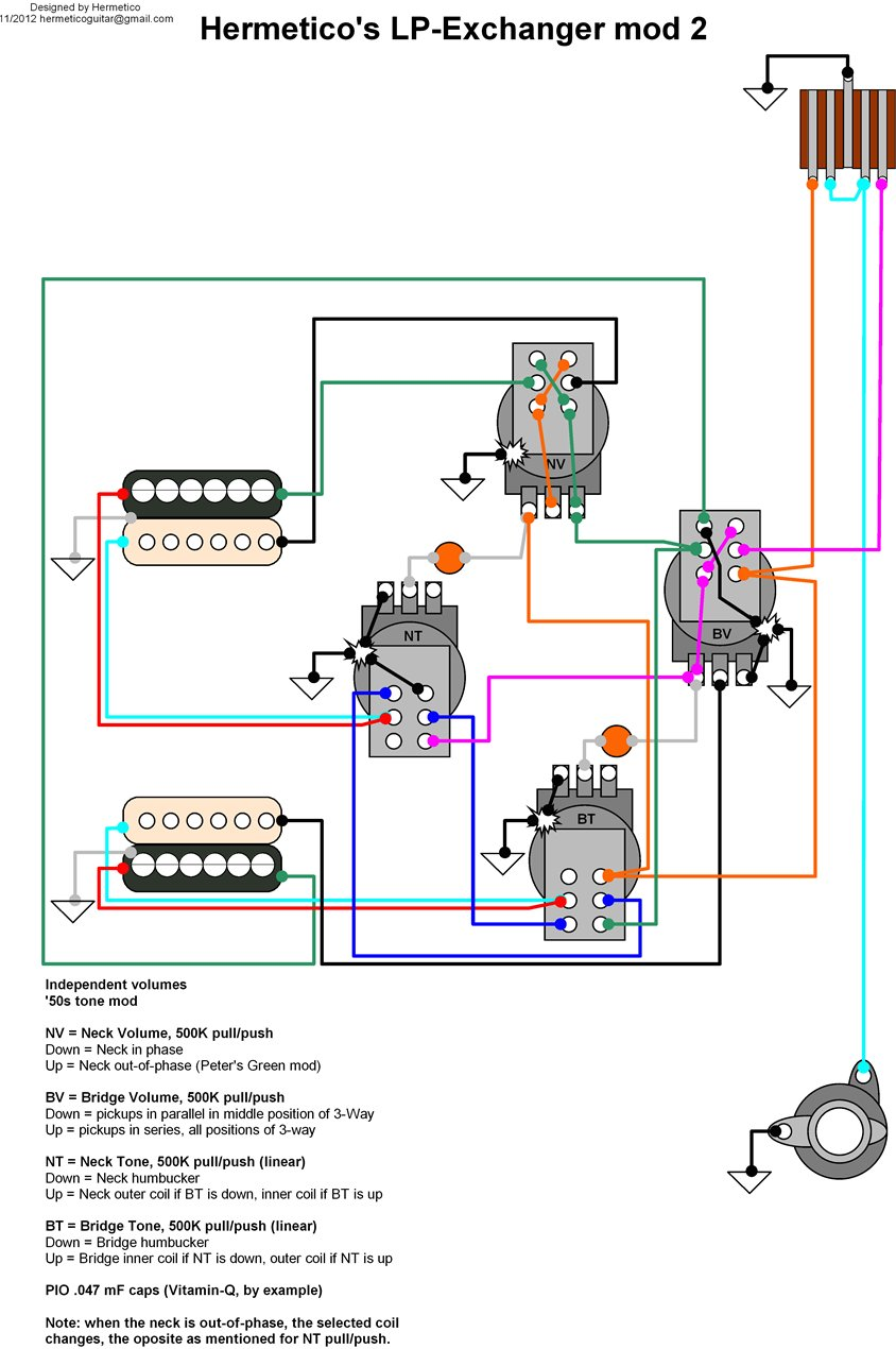 Hermetico Guitar Wiring Diagram Hermeticos Lp Exchanger Mod 2 Two Humbuckers Four Knobs Classification Modded