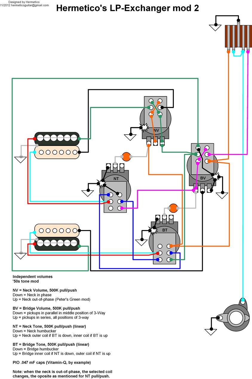 Hermetico Guitar: Wiring Diagram: Hermetico's LP Exchanger