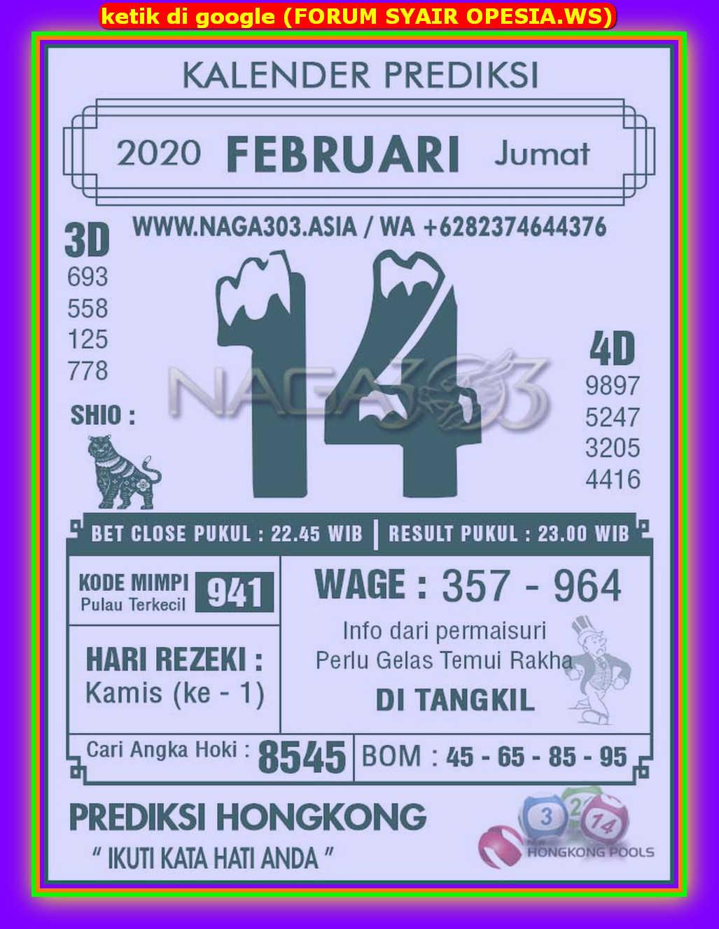Kode syair Hongkong Jumat 14 Februari 2020 78