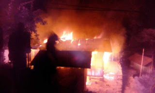 House gutted in fire In Mungpoo