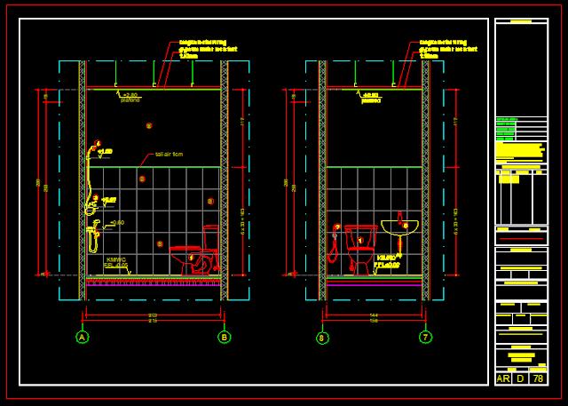 Detail Kamar Mandi/Wc Gambar Kerja Autocad File Dwg