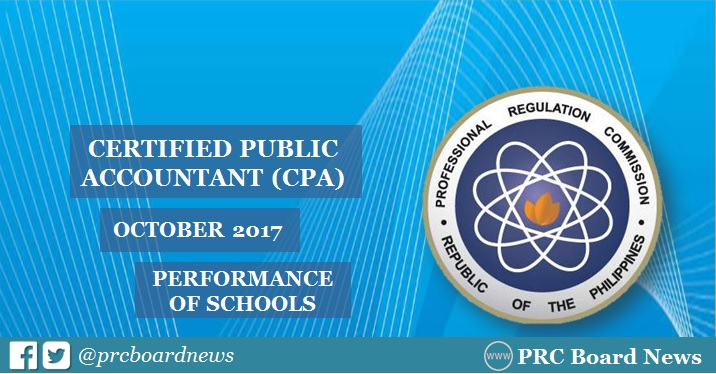 October 2017 CPA board exam result: performance of schools