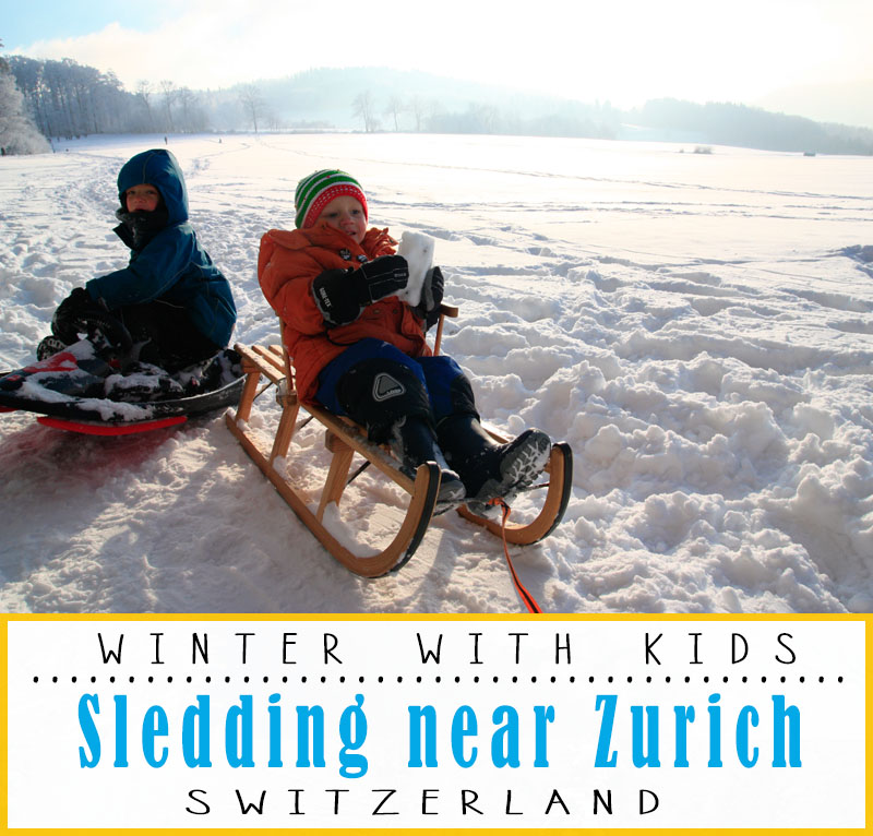 Our favorite sledding spots for kids near Zurich Switzerland, including free hills and long mountain sled runs.