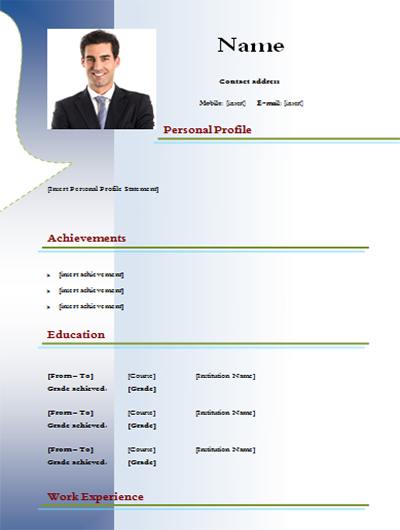 download cv example word model to edit blue