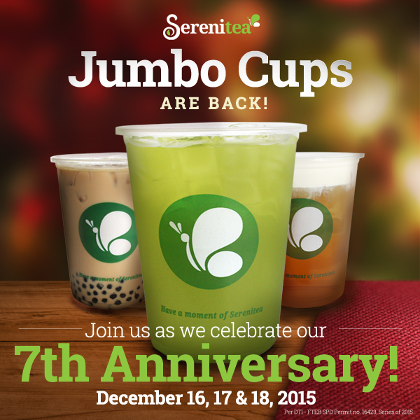 FTW! Blog, zhequia.blogspot.com, serenitea, milk tea, jumbo cups, #FTWblog, #serenitea, #jumbocup, #7thyearanniversary, #HBDSerenitea