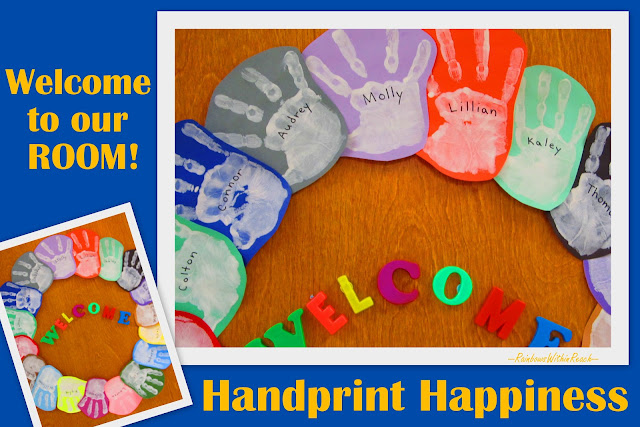 Handprint wreath for classroom door welcome back to school also rainbowswithinreachspot rh