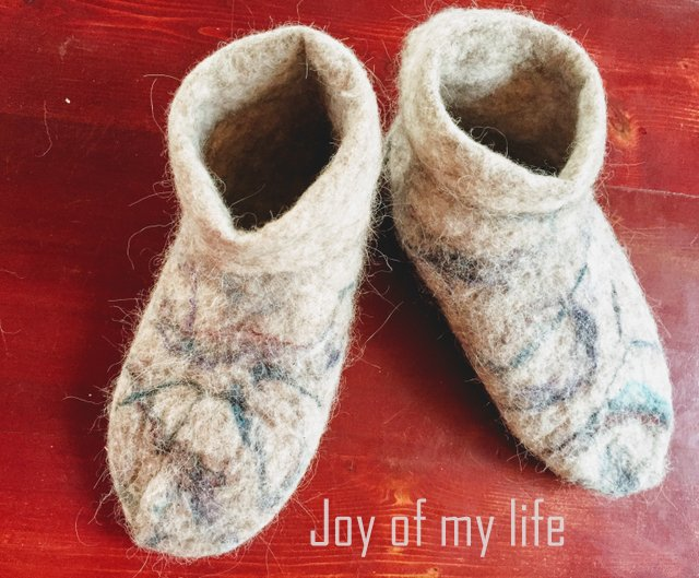 Handmade Alpaca Wool Felted Adult Indoor Booties