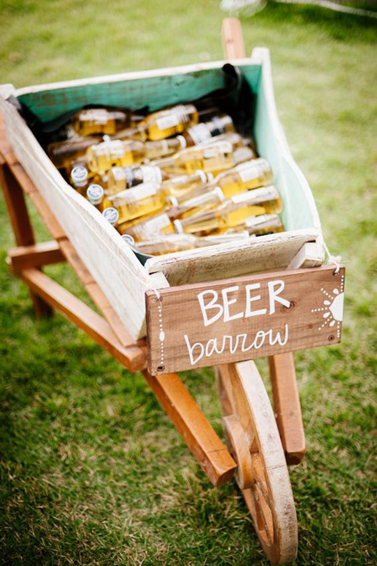 Rustic beer server for autumn wedding