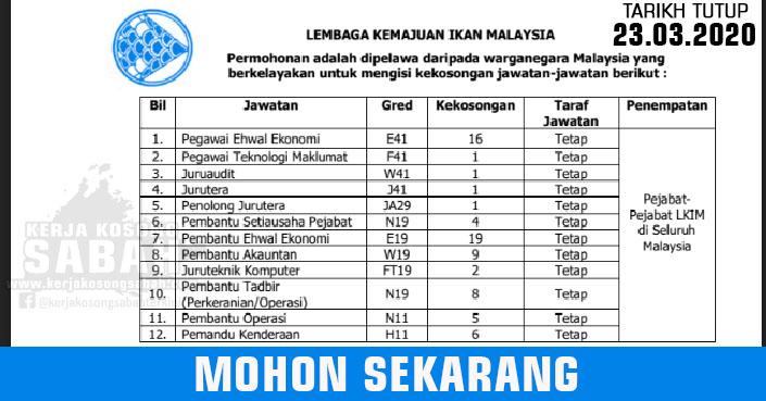 Jawatan Kosong Kerajaan Malaysia 2020 Pelbagai Jawatan Lembaga Kemajuan Ikan Malaysia Jawatan Kosong Terkini Negeri Sabah
