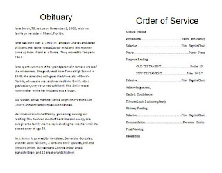 The funeral memorial program blog how to write a funeral for Writing obituaries templates