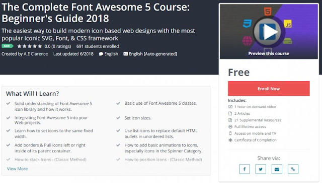 [100% Free] The Complete Font Awesome 5 Course: Beginner's Guide 2018