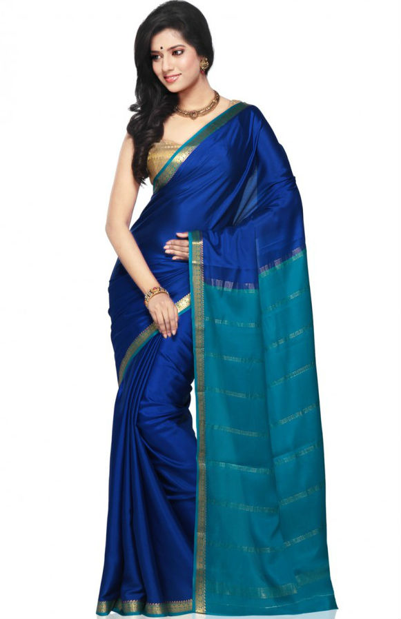 Saree Market Pure Mysore Silk Saree Blue Colour