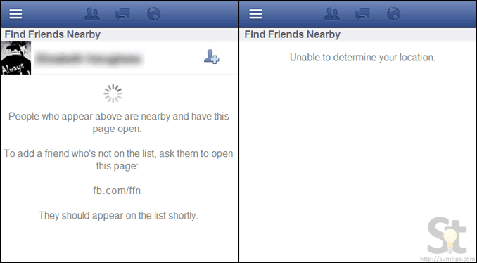 Facebook Friends Nearby Feature