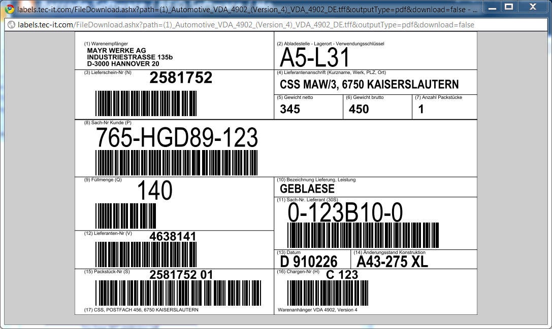 Identify Objects With Tec It One Click Label Printing