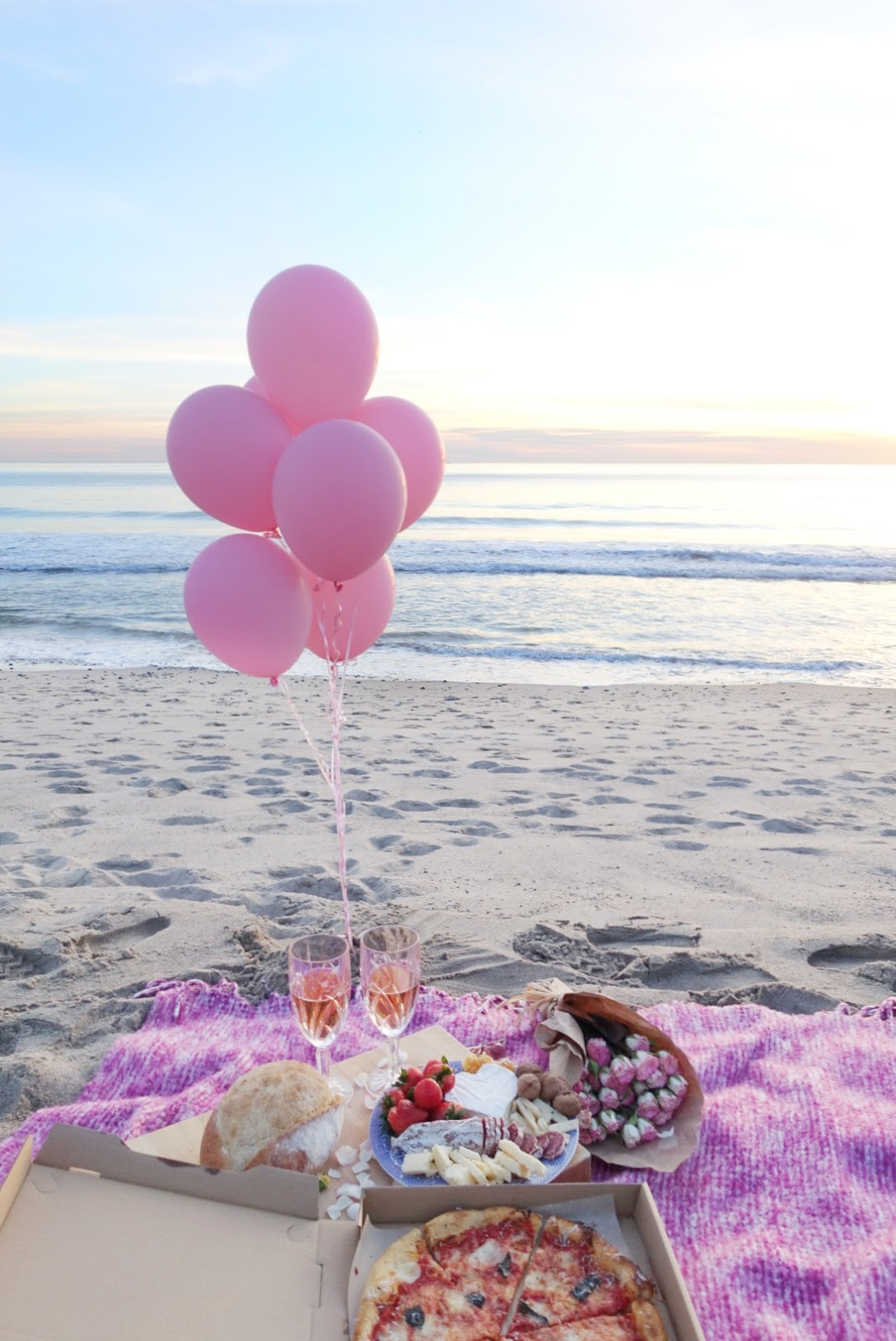 A Valentine S Day Inspired Sunset Beach Picnic Gisele Chic