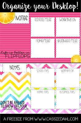 "Organize your desktop with these fun summer themed desktop organizers! It just takes a few clicks to ""beautify"" your desktop and organize all of your files."