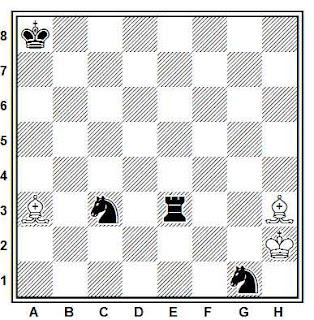 Estudio artístico de ajedrez compuesto por G. M. Kasparian (Szachy, segundo premio, 1977)